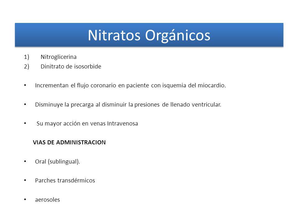 Nitratos Orgánicos Nitroglicerina Dinitrato de isosorbide