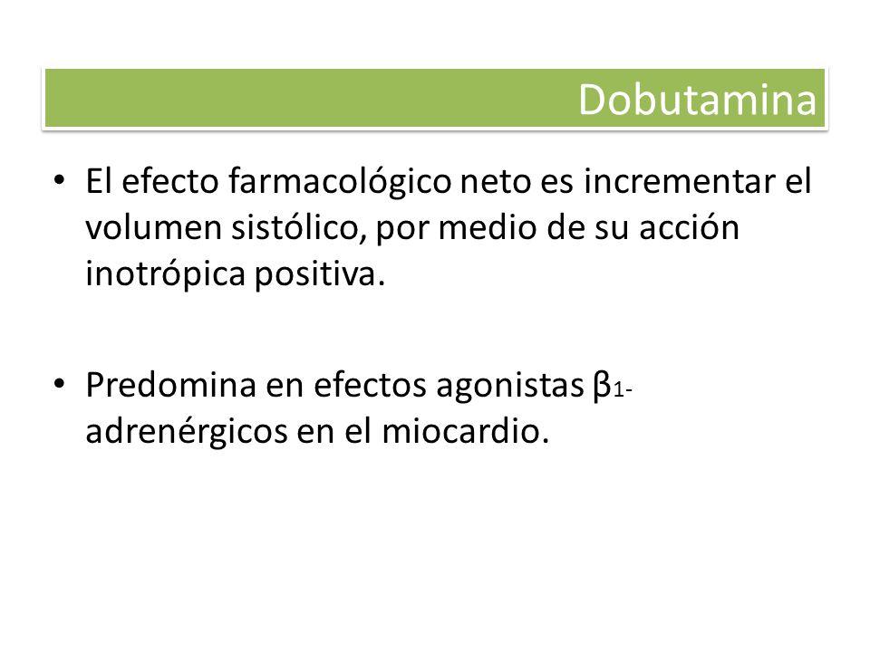 Dobutamina El efecto farmacológico neto es incrementar el volumen sistólico, por medio de su acción inotrópica positiva.