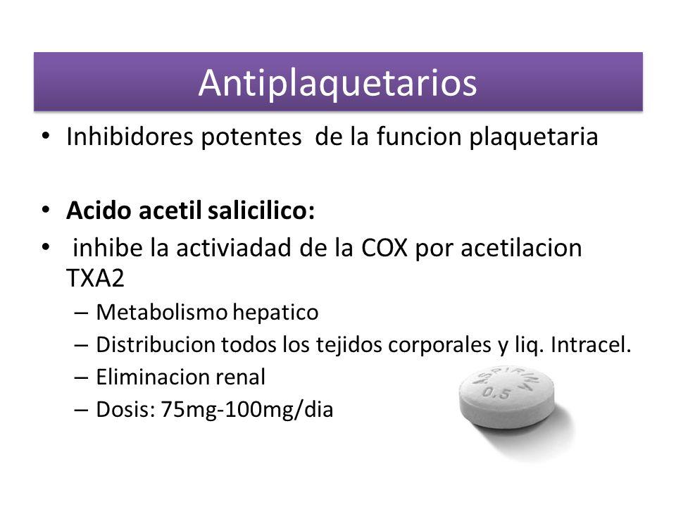 Antiplaquetarios Inhibidores potentes de la funcion plaquetaria