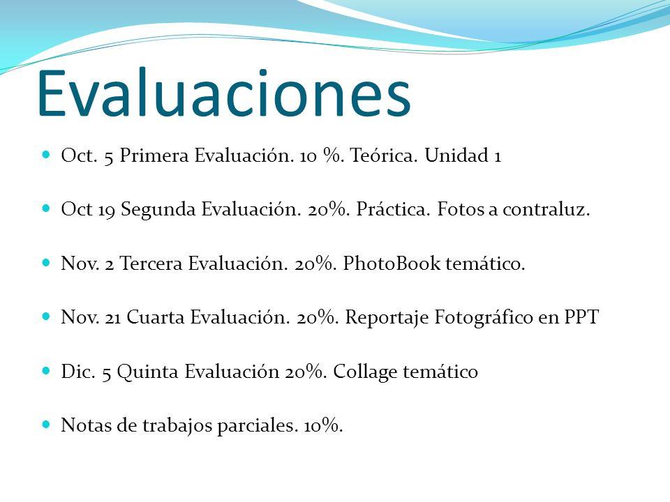 Evaluaciones Oct. 5 Primera Evaluación. 10 %. Teórica. Unidad 1
