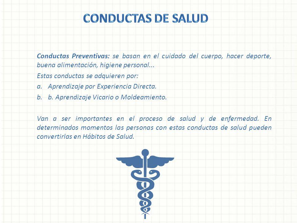 CONDUCTAS DE SALUD Conductas Preventivas: se basan en el cuidado del cuerpo, hacer deporte, buena alimentación, higiene personal...