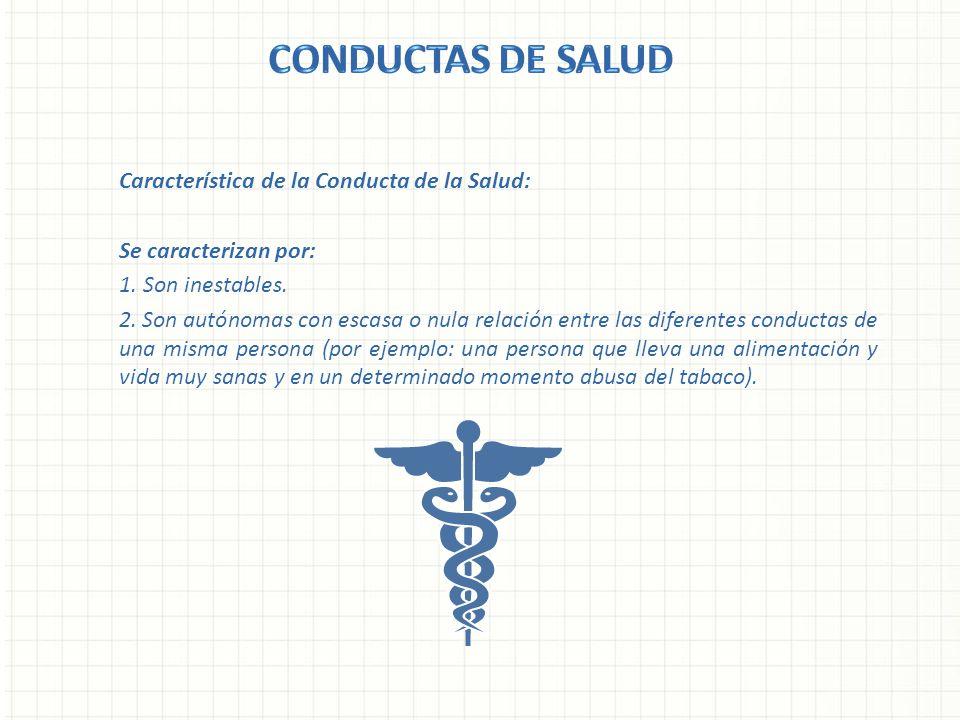 CONDUCTAS DE SALUD Característica de la Conducta de la Salud: