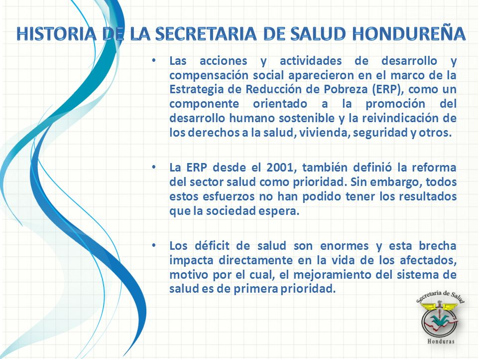 Historia de la Secretaria de salud hondureña