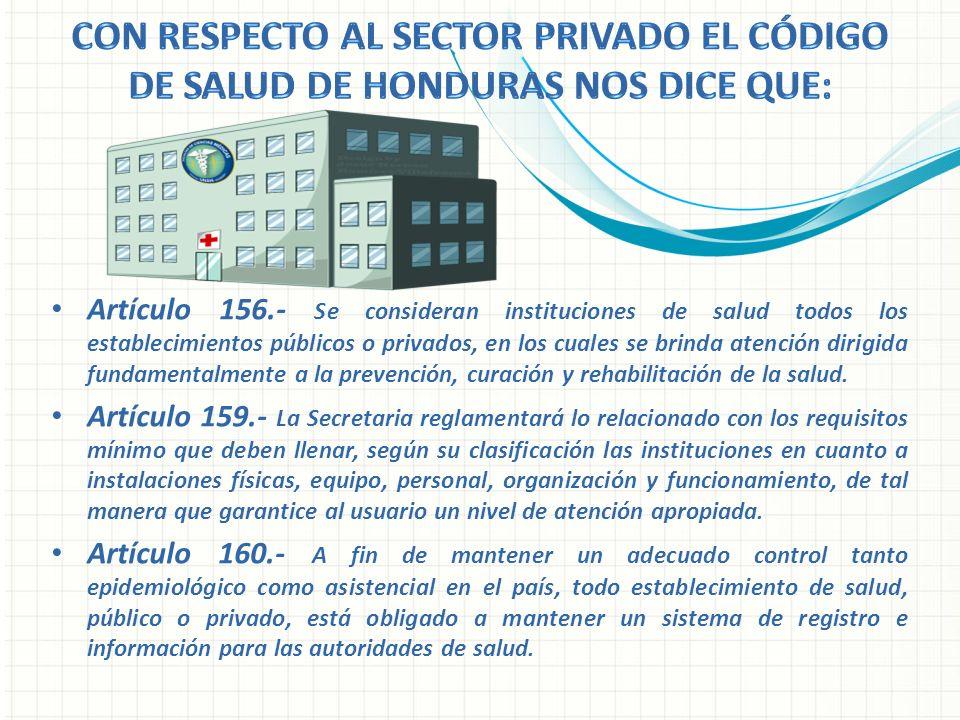 Con respecto al sector privado el código de Salud de Honduras nos dice que: