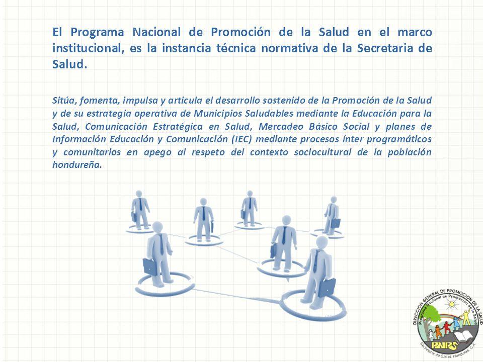 El Programa Nacional de Promoción de la Salud en el marco institucional, es la instancia técnica normativa de la Secretaria de Salud.