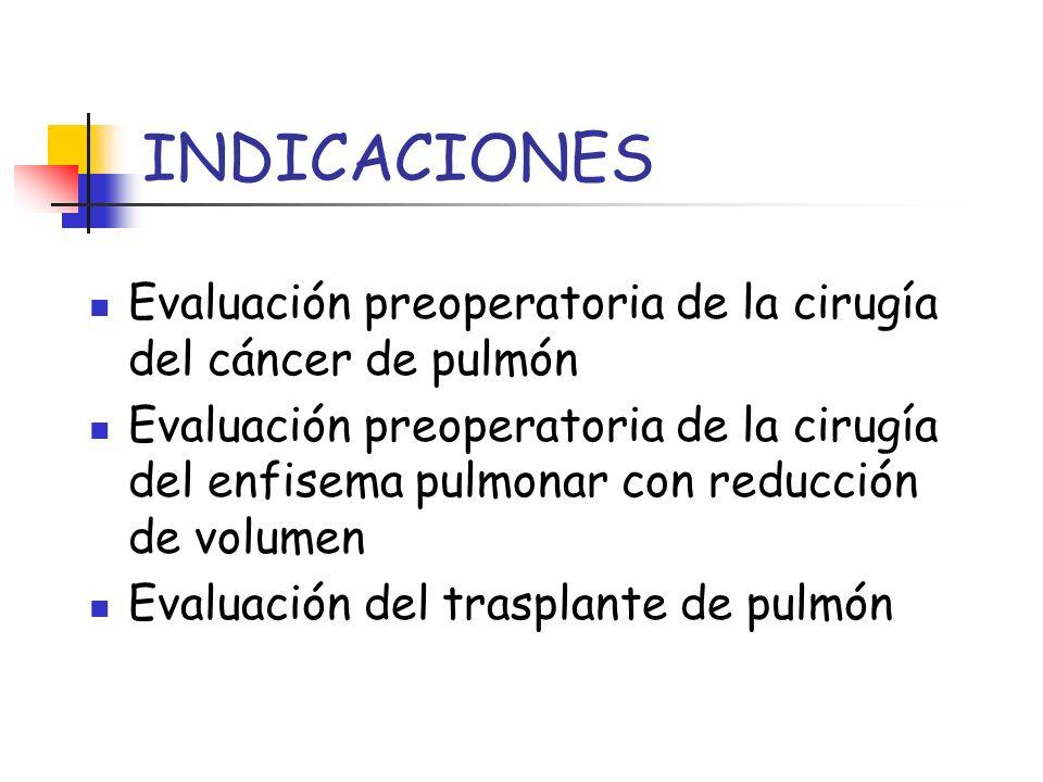 INDICACIONES Evaluación preoperatoria de la cirugía del cáncer de pulmón.