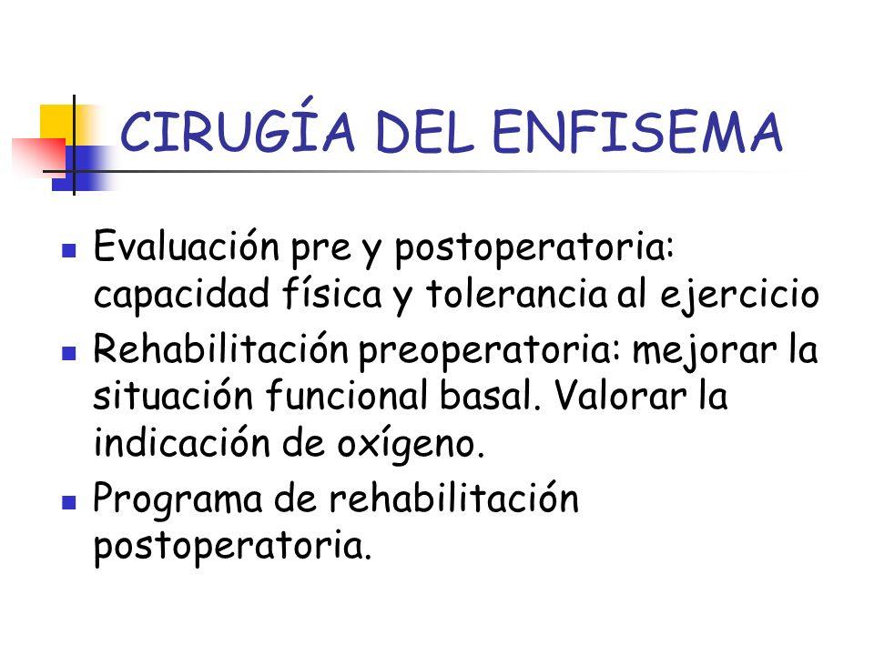 CIRUGÍA DEL ENFISEMA Evaluación pre y postoperatoria: capacidad física y tolerancia al ejercicio.