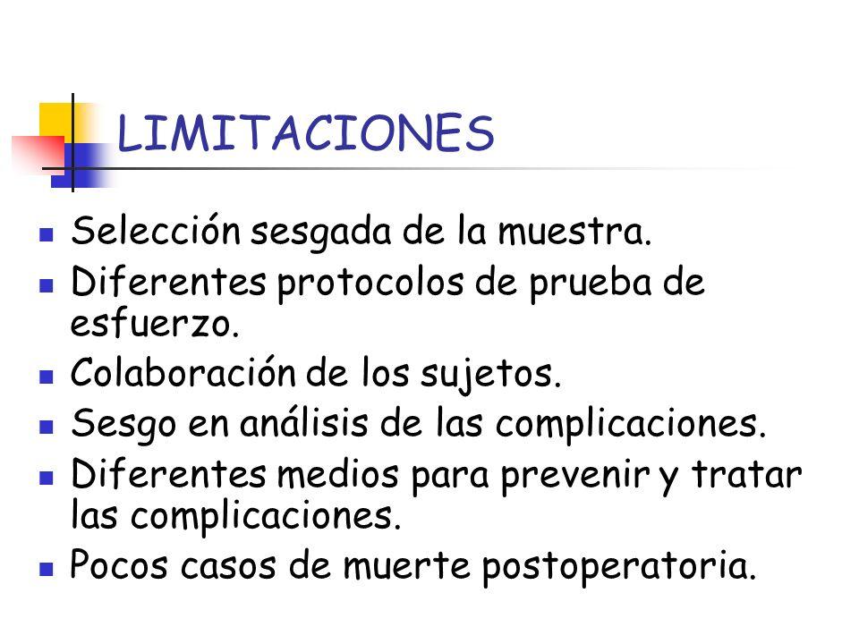 LIMITACIONES Selección sesgada de la muestra.