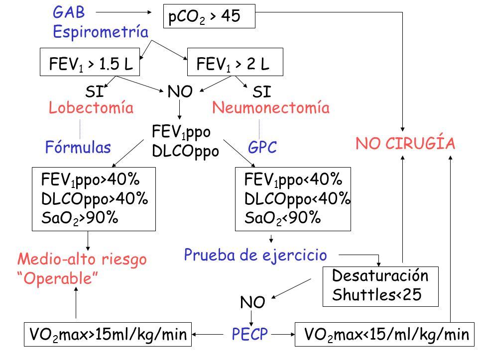 GAB Espirometría. pCO2 > 45. FEV1 > 1.5 L. FEV1 > 2 L. SI. NO. SI. Lobectomía. Neumonectomía.