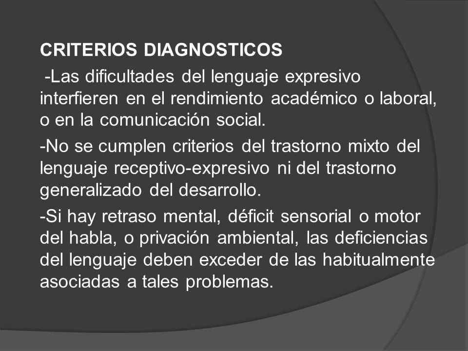 CRITERIOS DIAGNOSTICOS -Las dificultades del lenguaje expresivo interfieren en el rendimiento académico o laboral, o en la comunicación social.