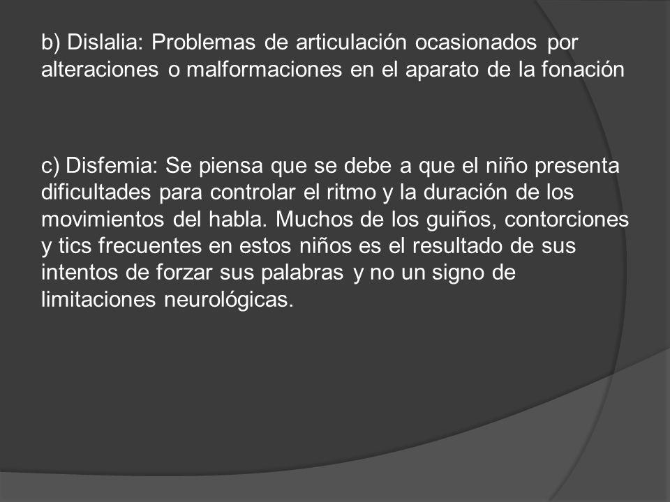 b) Dislalia: Problemas de articulación ocasionados por alteraciones o malformaciones en el aparato de la fonación
