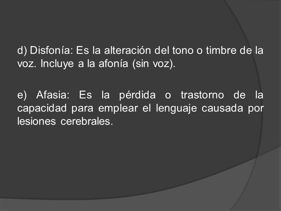d) Disfonía: Es la alteración del tono o timbre de la voz