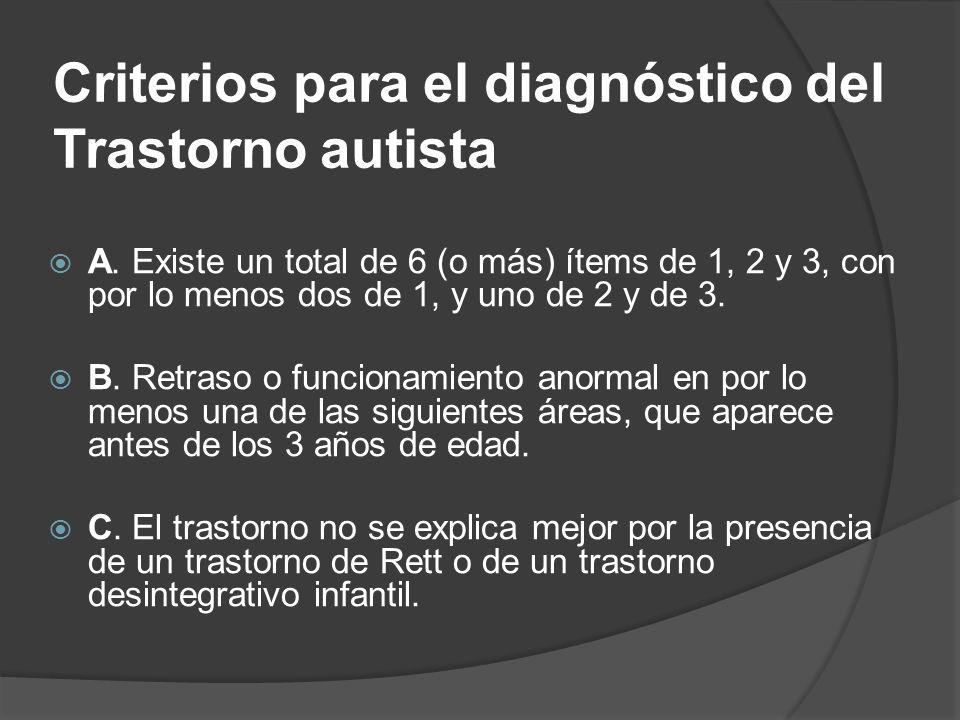 Criterios para el diagnóstico del Trastorno autista