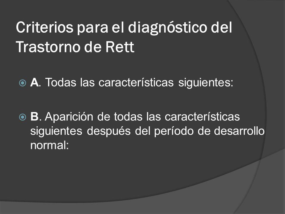 Criterios para el diagnóstico del Trastorno de Rett