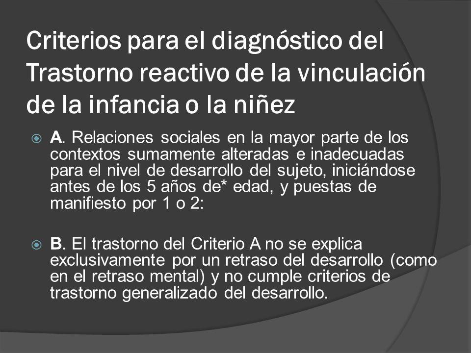 Criterios para el diagnóstico del Trastorno reactivo de la vinculación de la infancia o la niñez