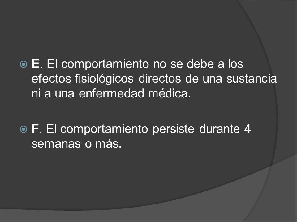 E. El comportamiento no se debe a los efectos fisiológicos directos de una sustancia ni a una enfermedad médica.