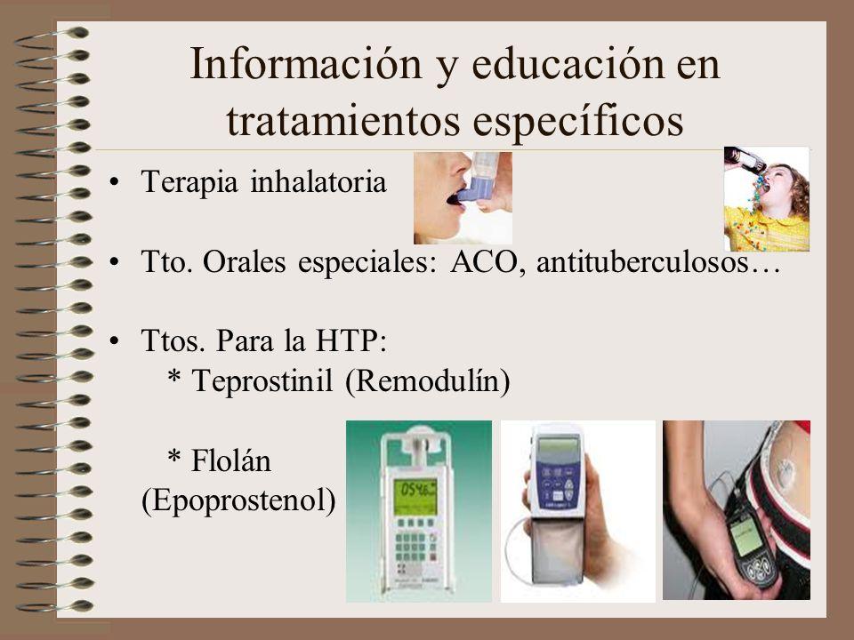 Información y educación en tratamientos específicos