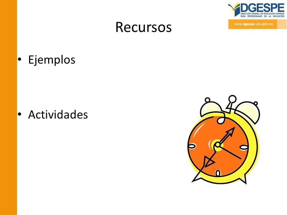 Recursos Ejemplos Actividades