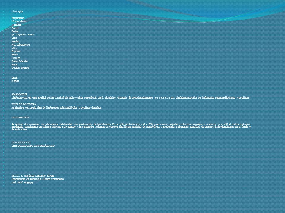 Citología Propietario. Ulises Muñoz. Nombre. Cutter. Fecha. 30 – Agosto – 2008. Sexo. Macho.