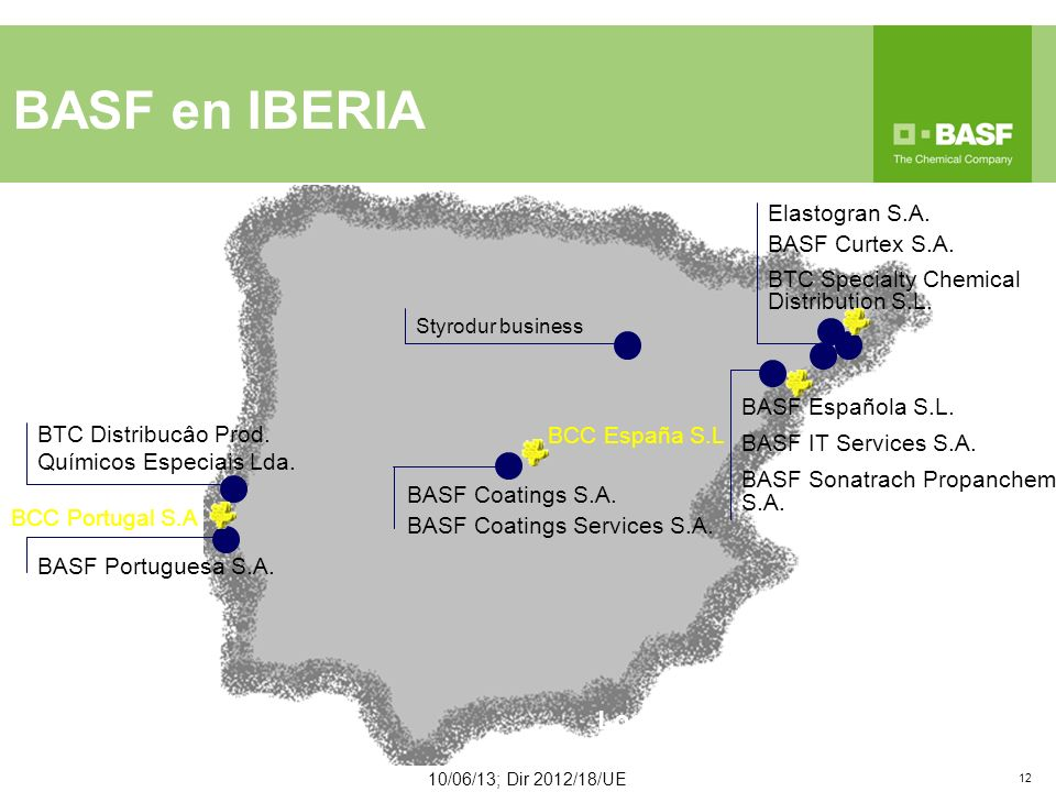 BASF en IBERIA 12 (incl. JV) Companies Locations Employees