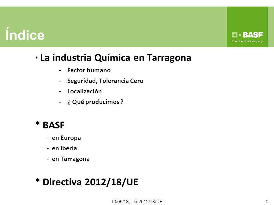 Índice * BASF * Directiva 2012/18/UE