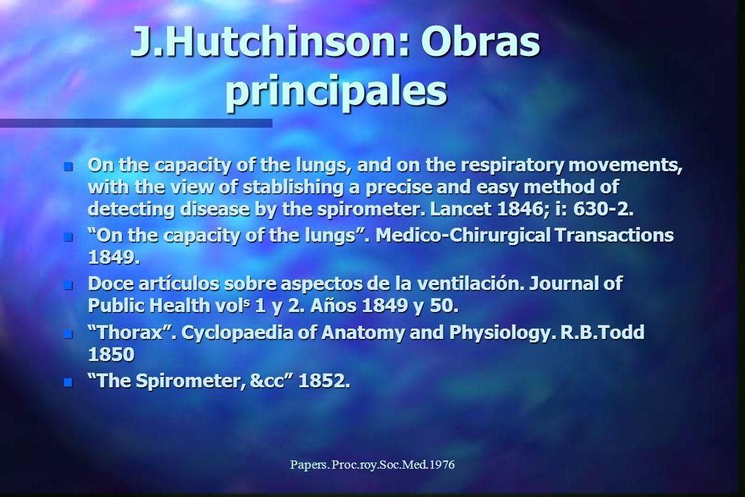 J.Hutchinson: Obras principales