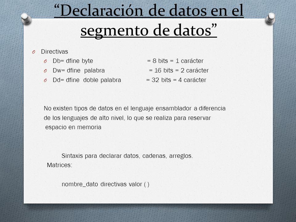 Declaración de datos en el segmento de datos