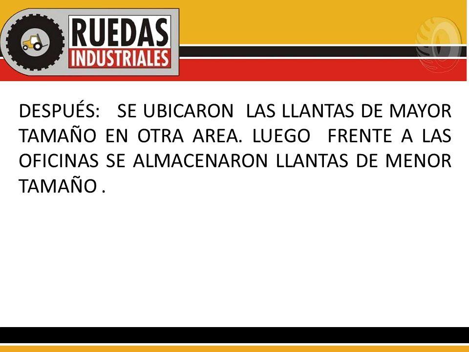DESPUÉS: SE UBICARON LAS LLANTAS DE MAYOR TAMAÑO EN OTRA AREA