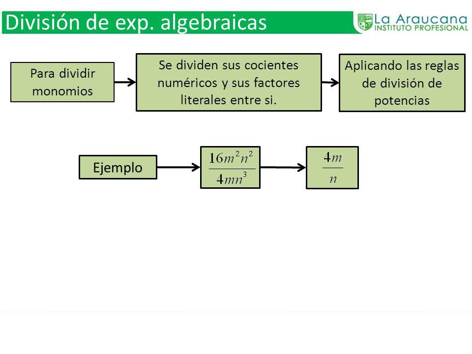 División de exp. algebraicas