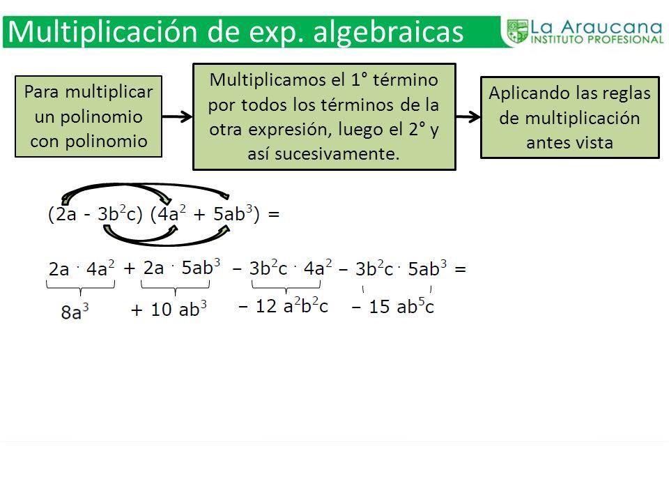 Multiplicación de exp. algebraicas