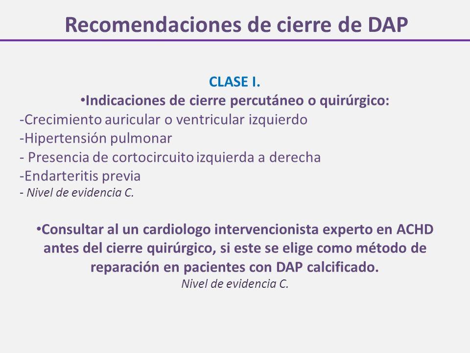 Recomendaciones de cierre de DAP