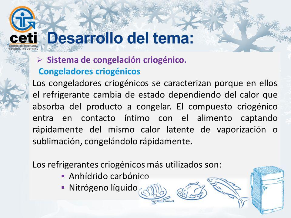 Desarrollo del tema: Sistema de congelación criogénico.