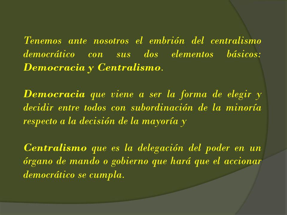 Tenemos ante nosotros el embrión del centralismo democrático con sus dos elementos básicos: Democracia y Centralismo.