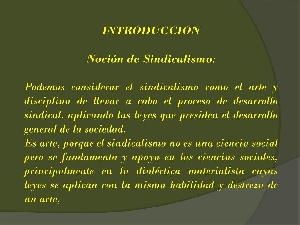 Noción de Sindicalismo: