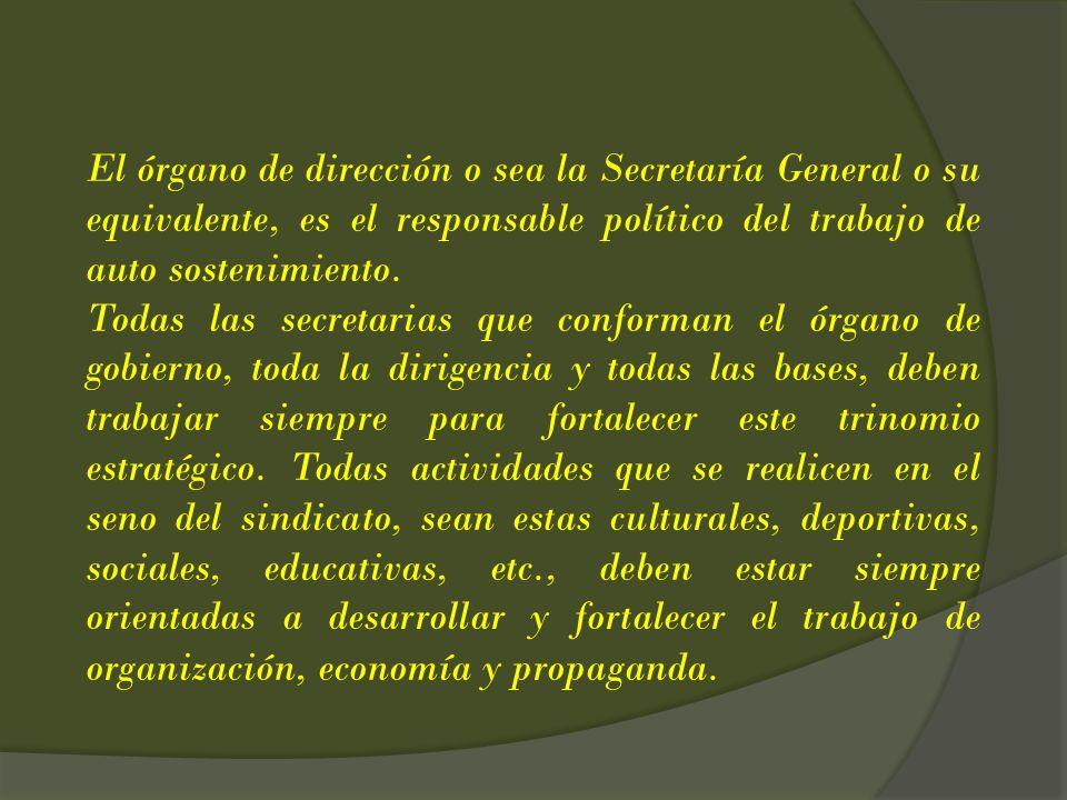El órgano de dirección o sea la Secretaría General o su equivalente, es el responsable político del trabajo de auto sostenimiento.