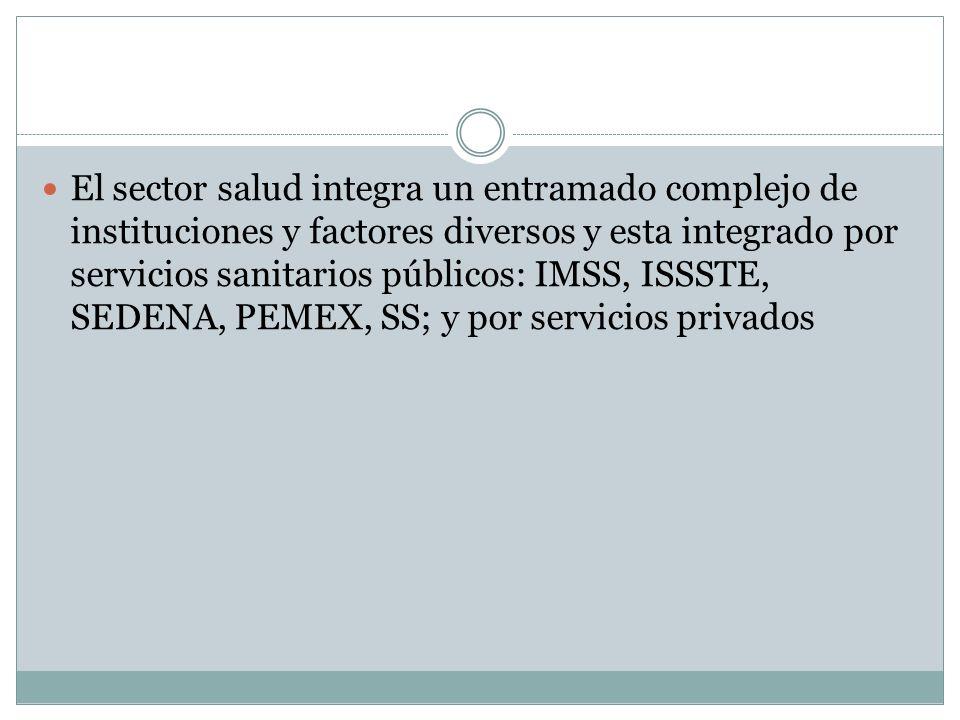 El sector salud integra un entramado complejo de instituciones y factores diversos y esta integrado por servicios sanitarios públicos: IMSS, ISSSTE, SEDENA, PEMEX, SS; y por servicios privados