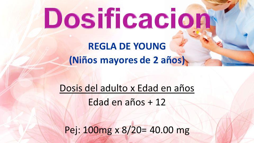 Dosificacion REGLA DE YOUNG (Niños mayores de 2 años) Dosis del adulto x Edad en años Edad en años + 12 Pej: 100mg x 8/20= 40.00 mg
