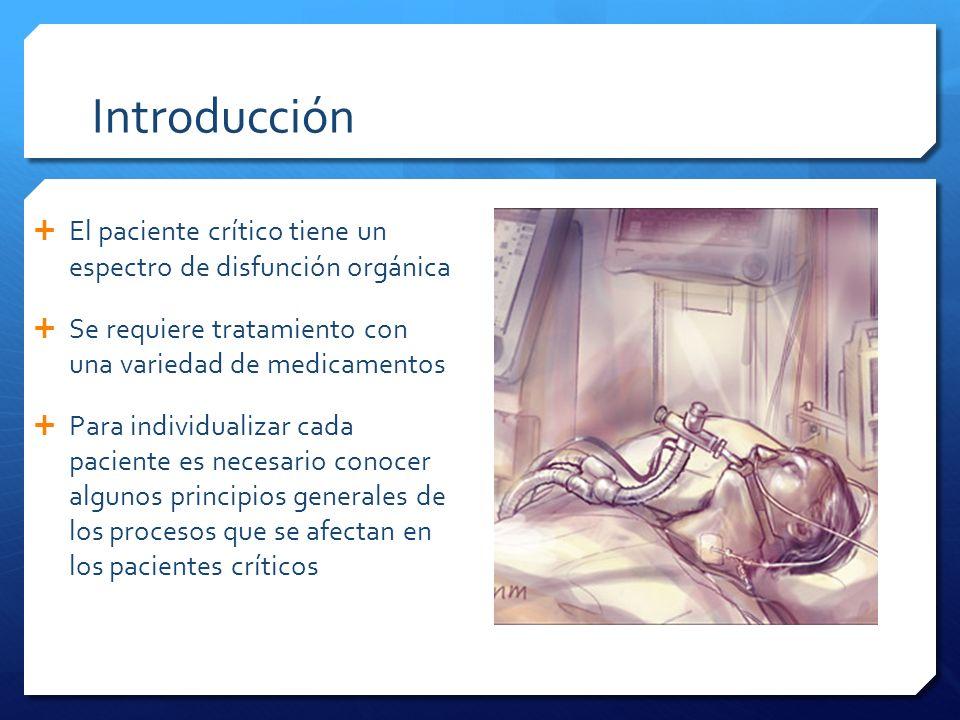 Introducción El paciente crítico tiene un espectro de disfunción orgánica. Se requiere tratamiento con una variedad de medicamentos.