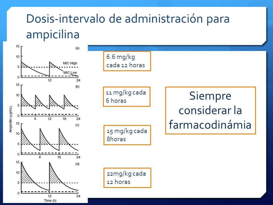 Dosis-intervalo de administración para ampicilina