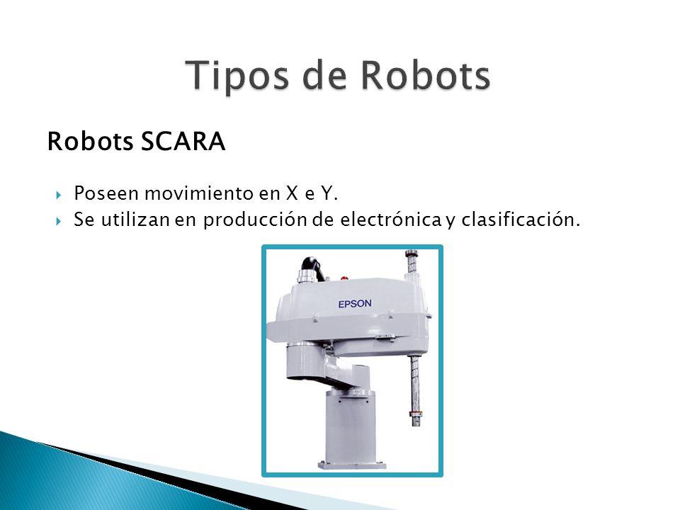 Tipos de Robots Robots SCARA Poseen movimiento en X e Y.