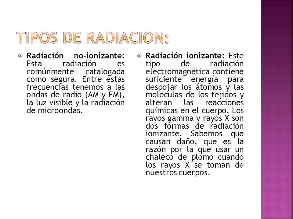 Tipos de radiacion: