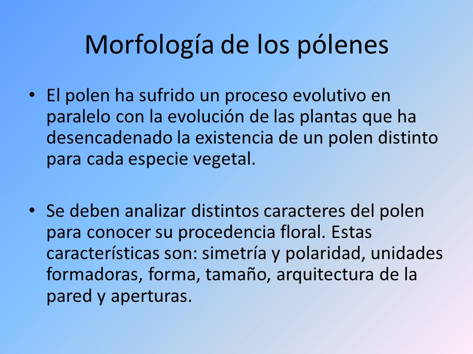 Morfología de los pólenes