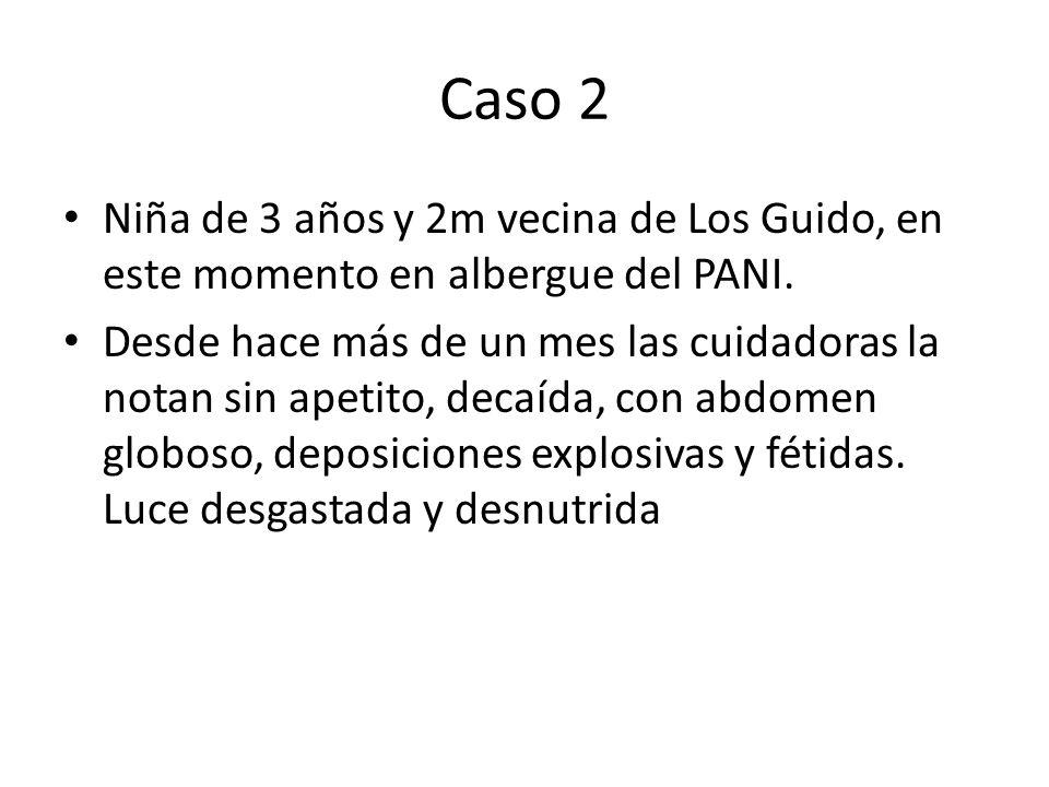 Caso 2 Niña de 3 años y 2m vecina de Los Guido, en este momento en albergue del PANI.
