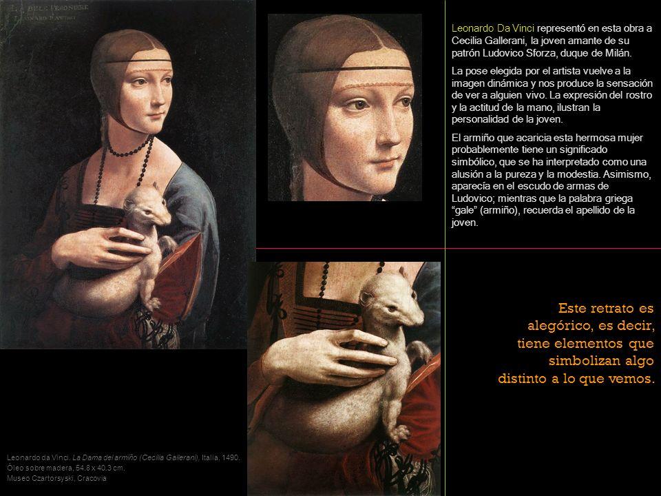 Leonardo Da Vinci representó en esta obra a Cecilia Gallerani, la joven amante de su patrón Ludovico Sforza, duque de Milán.