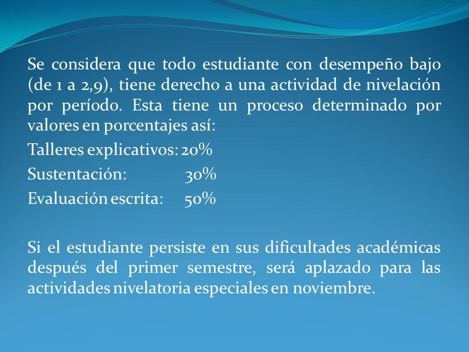 Se considera que todo estudiante con desempeño bajo (de 1 a 2,9), tiene derecho a una actividad de nivelación por período. Esta tiene un proceso determinado por valores en porcentajes así: