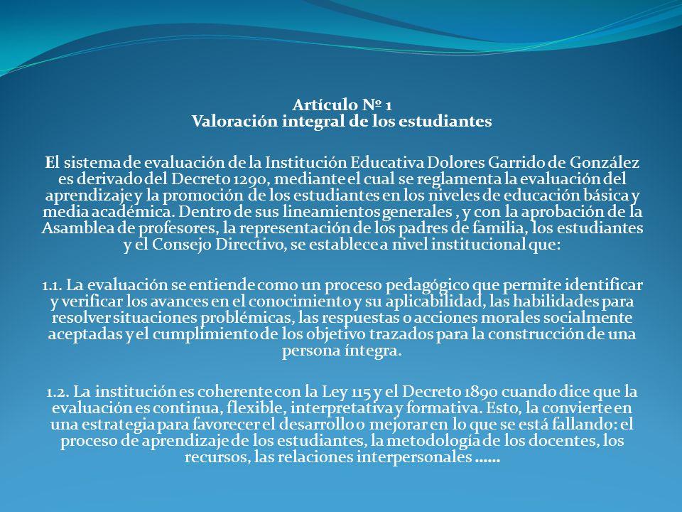 Artículo Nº 1 Valoración integral de los estudiantes