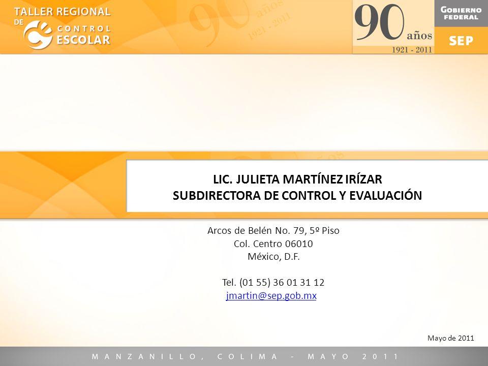 LIC. JULIETA MARTÍNEZ IRÍZAR SUBDIRECTORA DE CONTROL Y EVALUACIÓN