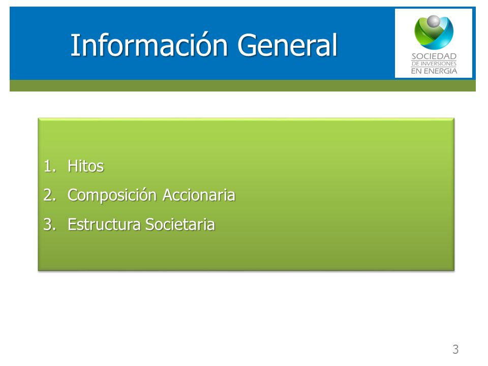 Información General Hitos Composición Accionaria Estructura Societaria