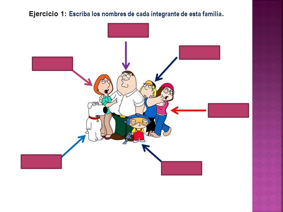 Ejercicio 1: Escriba los nombres de cada integrante de esta familia.