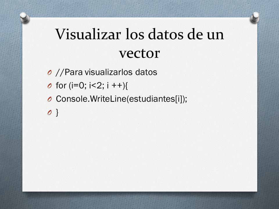 Visualizar los datos de un vector